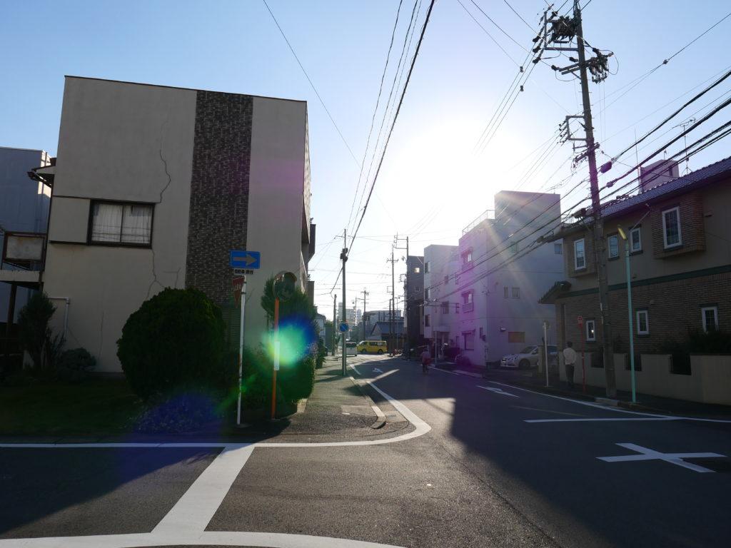 近所の道から見た太陽