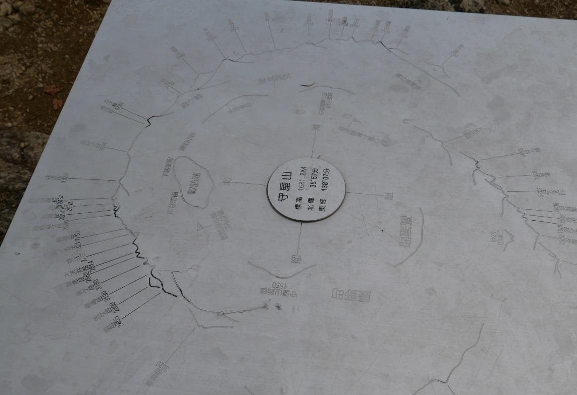 守屋山頂上の標識