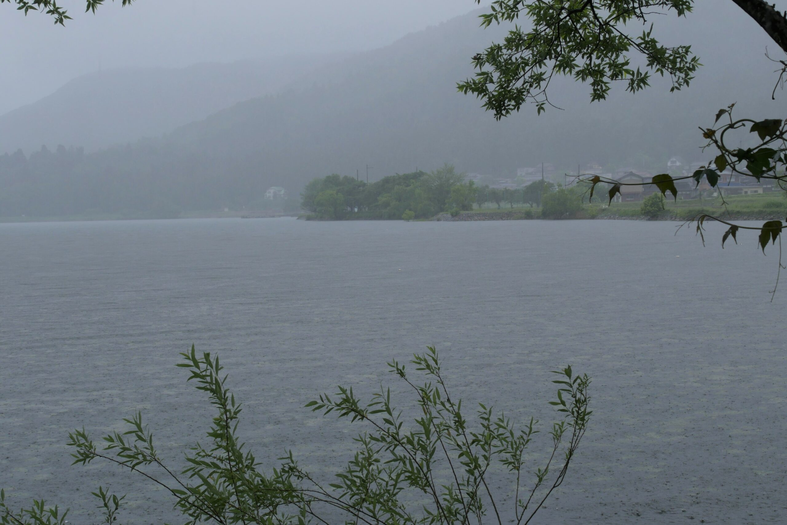 琵琶湖の北にある雨の余呉湖